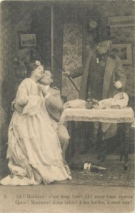 Postcard theatre man suit woman young drink table food