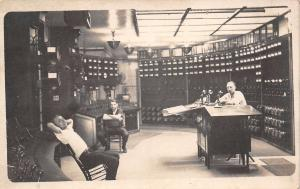 WWI Era~Candlestick Telephones on Desk~Control Room~Levers Panel~3 Men~1917 RPPC