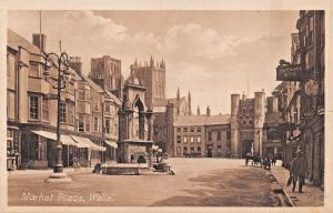 WELLS SOMERSET UK~MARKET PLACE-DAWKES & PARTIRIDGE CATHEDRAL SERS PHOTO POSTCARD