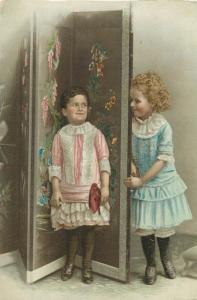 Vintage chromo card victorian girls hyde and seek game chinese painted paravane