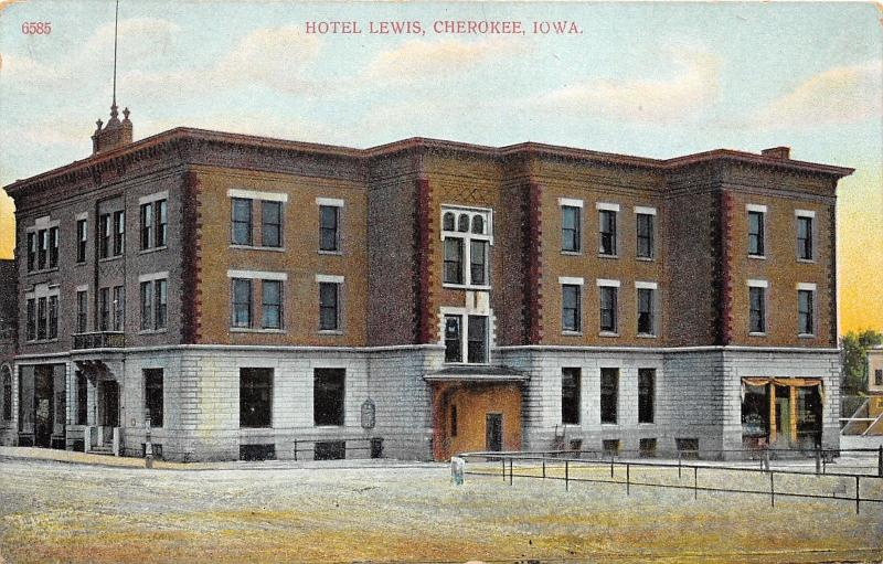 Cherokee Iowa~Hotel Lewis~Signs in Windows~Unpaved Street~c1910 Postcard