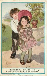Artist impression Boy & Girl 909 OAKLAND CALIFORNIA postcard 5337