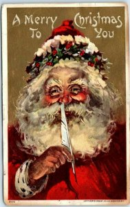 1910s Embossed Postcard SANTA CLAUS Feather Quill Pen A Merry Christmas to You