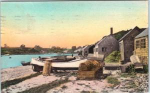 CHATHAM, Cape Cod,  MA  Handcolored  MILL POND  Fishermen's Huts  1935  Postcard