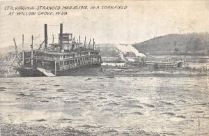 E73/ West Virginia Postcard Willow Grove 1910 Steamer Virginia Stranded Wreck