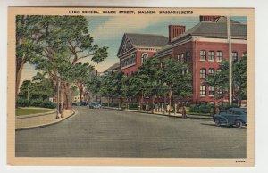 P2192 vintage postcard high school salem street malden mass cars people etc