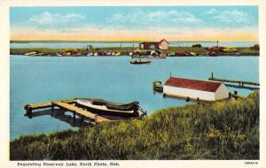 North Platte Nebraska Regulating Reservoir Lake Antique Postcard K86229