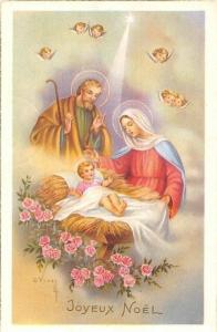 Joyeux Noel, Christmas! Birth of Jesus Cherubs C. Vivey Signed 1957