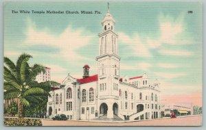 Miami Florida~The White Temple Methodist Church~Vintage Postcard