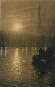 France Sunset Over The Seine PATRAS The Beautiful Things of Paris Sepia Postcard