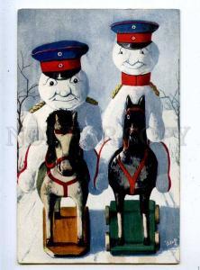 202961 WWI Propaganda SNOWMAN Horse squadron Old TUCK #827