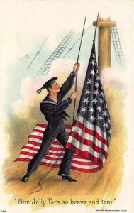Our Jolly Tars so Brave and True US Flag Naval Ship Embossed Postcard