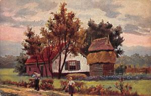 Netherlands Village scene, signed, house haus maison