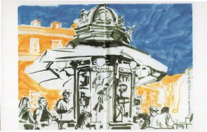 Quiosque Do Camoes Lisbon Portugal Sketch Painting Postcard
