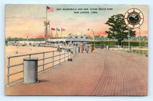 Postcard CT New London Boardwalk and Gam Ocean Beach Park L06