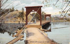Gorham New Hampshire~Victorian Couple on Suspension Bridge~Planks~Path~1907 PC