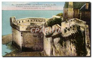 Old Postcard Mont St Michel Les Remparts and the Bastion of & # 39Est This Ba...