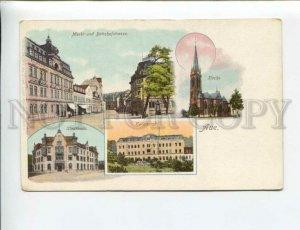 3173904 GERMANY Aue Bahnhofstrasse Vintage litho postcard