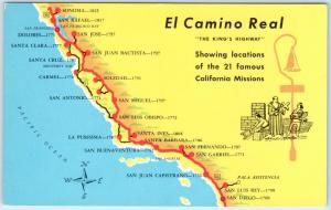 Map Of California Missions Locations.El Camino Real The Kings Highway Ca Map Of The Missions Ca 1950s