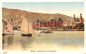 Switzerland Postcard Zurich Alpenquai und Uetliberg