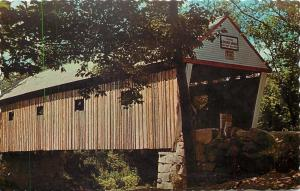 South Andover Maine~Lovejoy Covered Bridge over Ellis River~1950s Postcard