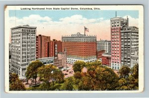 Columbus OH-Ohio, Looking Northwest From State Capitol Dome, Vintage Postcard