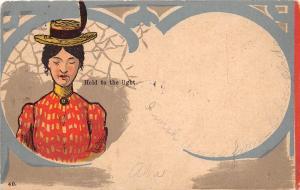 <A4> HOLD-TO-LIGHT Postcard HTL 1906 Elk City Kansas WOMAN Delivering Letter 6