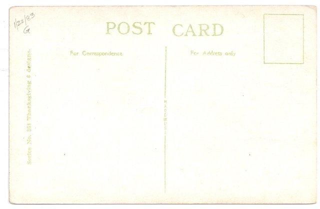 Thanksgiving Tom Turkey Arts and Crafts Era Poem Vintage Litho Postscard
