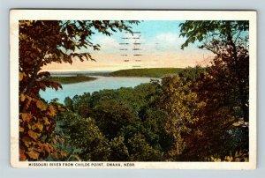 Omaha NE, Missouri River Scenic Child's Point View Vintage Nebraska Postcard