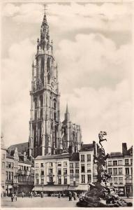 Belgium Antwerpen Hoofdkerk Groote Markt en Brabo Cathedral Fountain Shops
