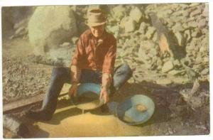 Mining/mines  Man panning for gold, California/Nevada, USA, 40-50s