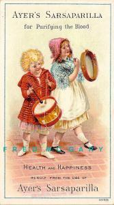 1890 Ayer's Sarsaparilla Trade Card: Drummer Boy & Girl on Tambourine