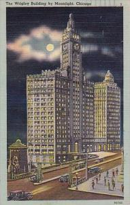 Illinois Chicago The Wrigley Building By Moonlight 1955