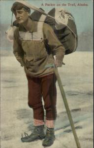 Hiker Hiking in Alaska Early 1900s Gear Shoes Pack Ice Pick Postcard
