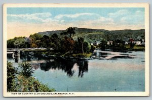 Salamanca New York~Country Club Grounds~Bridge Over Water to Homes~1917 Postcard