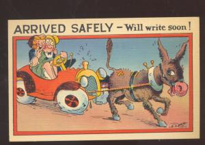 ARRIVED SAFELY WILL WRITE SOON DONKEY DRAWN CAR VINTAGE COMIC POSTCARD