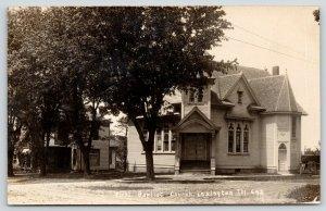 Lexington Illinois~First Baptist Church~Victorian House Under Tree~1909 RPPC