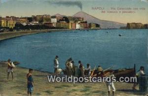 Napoli, Italy, Italia Via Caracciolo con Vista del Vesuvio e Pescatori  Via C...
