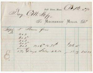 1870 Billhead, Mechanics Mills, Dr., Fall River, Massachusetts