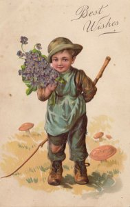 BEST WISHES; 1900-10s; Boy carrying bouquet of purple flowers and a stick