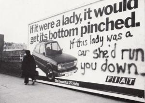 Farringdon Rd London Fiat Car Poster Graffiti Vandalism 1979 Real Photo Postcard