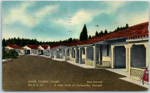 Cartersville Georgia Postcard Jones Tourist Court Route 41 Roadside Linen 1951