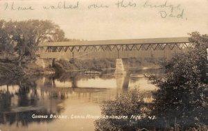 RPPC Covered Bridge, Connecticut River, Lancaster, New Hampshire 1932 Postcard