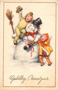 Belgique Gelukkig Nieuwjaar, Happy New Year, Snowman, children, champagne
