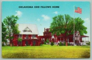 Checotah Oklahoma~Odd Fellows Home~Children~Flag~Postcard~1950s