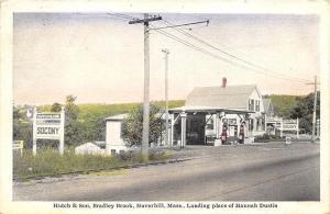 Haverhill MA Hutch & Son Socony Gas Station Postcard