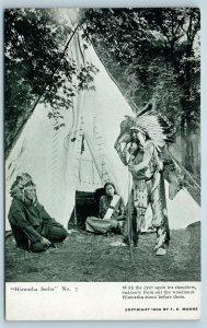 Postcard Hiawatha Series Indian Hiawatha Bringing Hunting Kill to Teepee Deer T7
