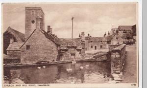 Dorset; Swanage, Church & Mill Pond PPC By Sweetman, To Mr Adams, Walsall, 1947