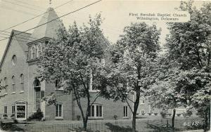 Wilmington DE~Shade Trees, Sign @ First Swedish Baptist Church~B&W Postcard