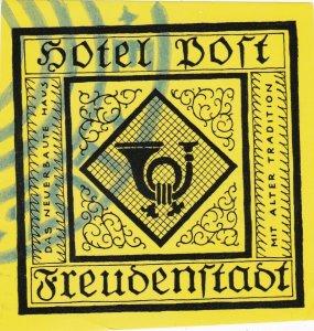 Germany Freudenstadt Hotel Post Vintage Luggage Label sk2888